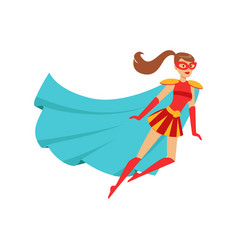 Girl superhero flying in red costume with blue vector