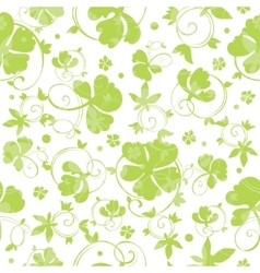 Green Swirly Clover Seamless Pattern vector image