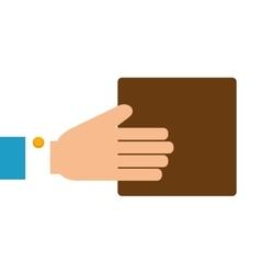 hand box cardboar vector image