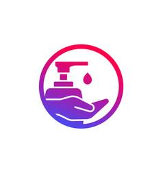 Hand sanitizer use antibacterial gel icon vector