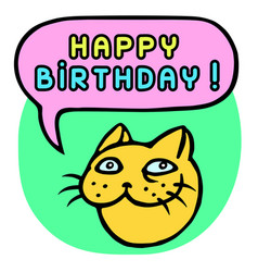 Happy birthday cartoon cat head speech bubble vector