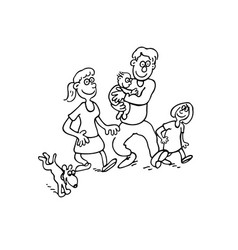 happy family cartoon outlined cartoon handrawn vector image