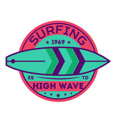 High wave surfing vintage label vector