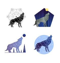 howling wolf set vector image