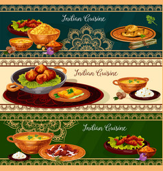 Indian cuisine spicy lunch dishes banner set vector