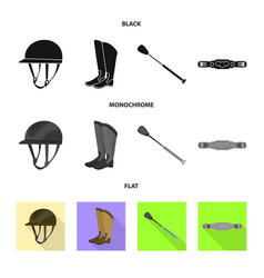 isolated object of equipment and riding icon set vector image