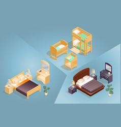 isometric cartoon furniture icon set 3d vector image