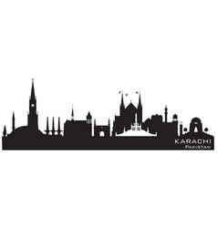 Karachi pakistan city skyline silhouette vector