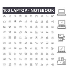 laptop notebook line icons signs set vector image