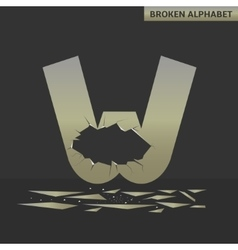 Letter W Broken mirror vector