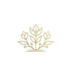Linear icon growing flower hand drawn with thin vector