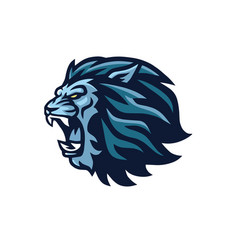 lion head roaring mascot logo design vector image