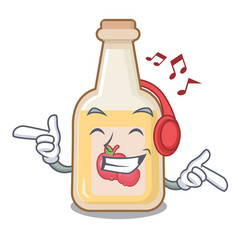 Listening music apple cider in character shape vector