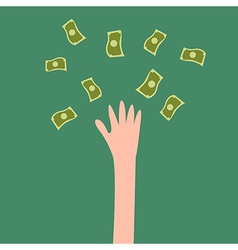 Lucky hand with fly money vector image