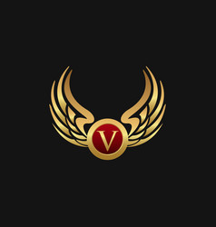 Luxury letter v emblem wings logo design concept vector