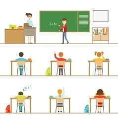 Mathematics Classroom And Kids Behind The Desks vector
