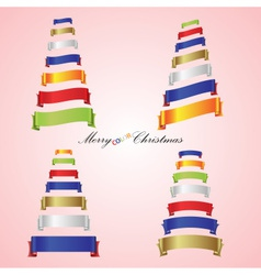 merry christmas trees from color ribbon banners vector image