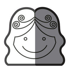 Monochrome shading silhouette girl face with wavy vector