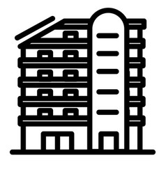 Multistory house line icon building vector