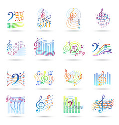 Music notes icons set vector image
