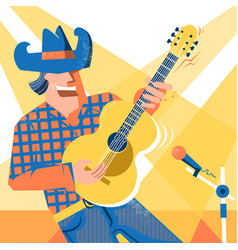 Musician singer man in cowboy hat and jeans style vector