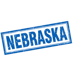 Nebraska blue square grunge stamp on white vector