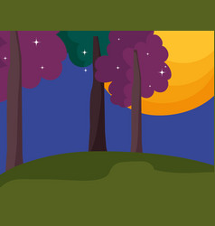 night moon tree stars landscape cartoon vector image