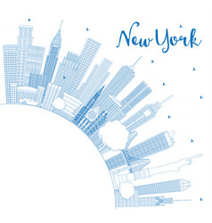 outline new york usa city skyline with blue vector image