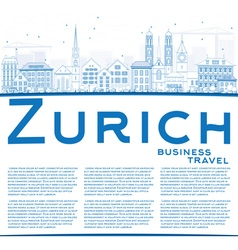 Outline Zurich Skyline with Blue Buildings vector image