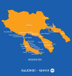 Peninsula of halkidiki in greece orange map and vector