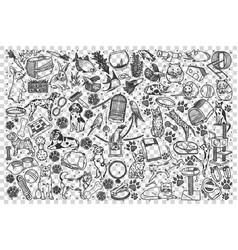 Pets doodle set vector