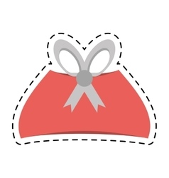 Pink gift box christmas celebration line dotted vector