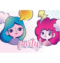 pop art cute girls speech buble ray clouds vector image