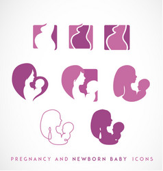 pregnancy and newborn icon set vector image