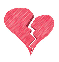 red heartbreak or broken heart or divorce isolated vector image