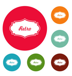 retro label icons circle set vector image vector image