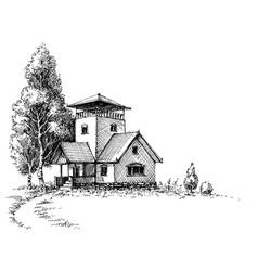 rustic artistic landscape vector image