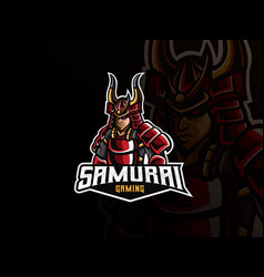 Samurai mascot sport logo design vector