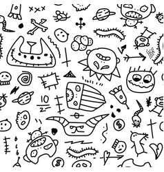 seamless doodle pattern hand drawn cartoon vector image