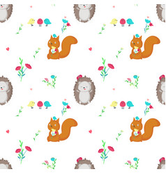 Seamless pattern with cute spring animals vector