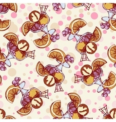 Seamless pattern with ice cream orange berries vector