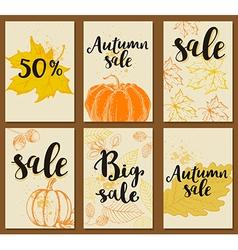 set autumn cards for seasonal sale vector image