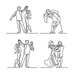 Set continuous happy loving couple dancing vector