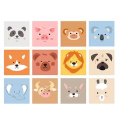 Set cute smiling simple animal portraits vector