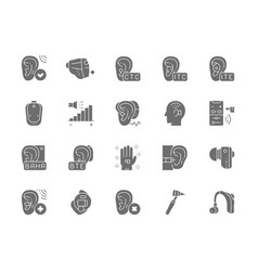 Set hearing aid gray icons ear canal volume vector