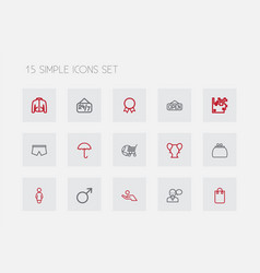 set of 15 editable trade outline icons includes vector image