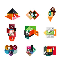set of geometric infographic banners paper info a vector image