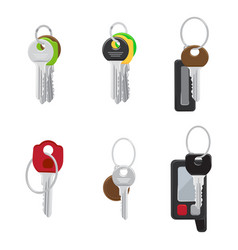 set of modern door and car keys flat vector image