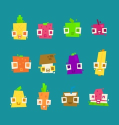 Set of simple minimal flat fruit characters vector