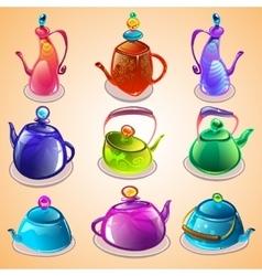 Set of tea kettles vector